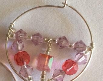 Swarovski Crystal Hoop Earrings in Pink