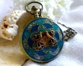 Deco Love Birds Enamel Watch Locket Necklace - Steampunk Pocket Watch in Green or Mauve or White - Wedding, Graduation Birthday Travel Gift