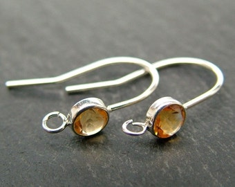 Sterling Silver Citrine Ear Wire ~ PAIR (CG6608)