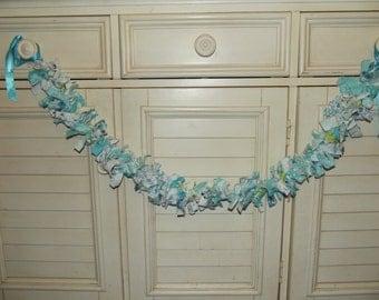 Aqua Fabric Scrappy Garland 3 foot