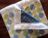 Green polka dot minky baby blanket