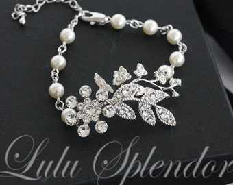 Bridal Bracelet Leaf Bracelet wedding Bracelet Swarovski Rhinestone Crystal  Pearl Vintage Style NEVE