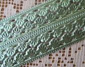 Germany Aqua Embossed Sea Shell Foil Paper Lace Dresden Trim  DFW 207 SF