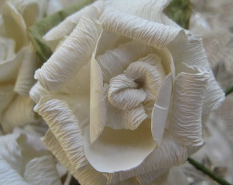 Paper Millinery Flowers 3 Large Shabby Off White Roses