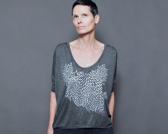 SALE - Ash Gray Womens Loose Fit Shirt - Silver Geometric Feather Print -  Long Sleeved Slouchy Shirt