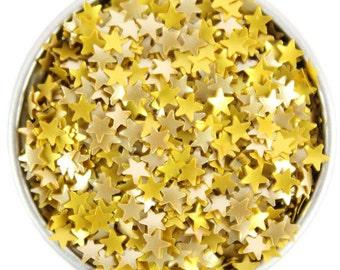 Gold Star Edible Glitter - metallic gold star sprinkles