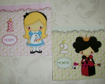 Monthly Baby Stickers - ALICE in WONDERLAND - SeT Of 12 - Click on all photos - Baby Photo Props - Great Baby Shower Gift - AMS 9822