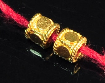 3.5mmx3.3mm 18k Solid Yellow Gold Fancy Drum Spacer Findings Beads PAIR