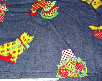 70s Vintage DENIM Fabric, ROOSTERS, Cats, Fruit, Flowers, Over 1 Yard
