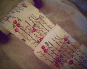 Cherries Galore - Hand Stamped French Inspired Trim - Distressed and Hand Frayed