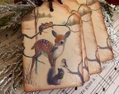 Woodland Animals Vintage Image Gift Tags // Set of 6 // Winter Woodland Scene