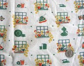 Vintage 1930's Feed Sack Cotton Fabric, Plant Pots in the Window, Kitchen Things Design