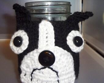 Boston Terrier Cover, Jar Cozy, candle jar cover, mason jar cozy,