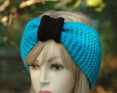 Blue and Black Knit Headband - Seamless Turban Ear Warmer in Carolina Panthers Colors