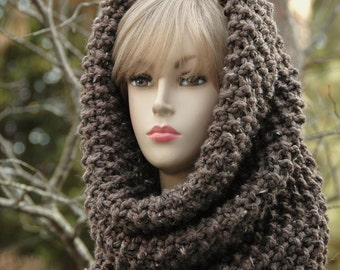 Chunky Knit Scarf, Circle Scarf, Women Hand Knit Infinity Scarf Cowl Hood In Neutral Barley Brown or You Choose Color Original Design