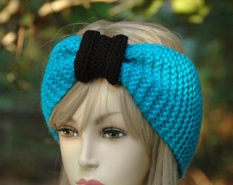 Blue and Black Knit Headband, Seamless Turban Ear Warmer in Carolina Panthers Colors, Women's Hair Accessories, Vegan Knit Headband,