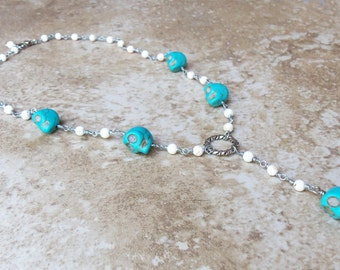 Memento Mori beaded link rosary style turquoise skull necklace