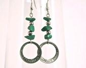 Green Aventurine and Dime Earrings