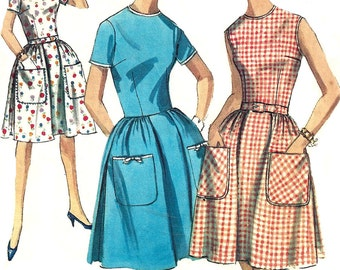 1960s Dress Pattern Pleated Skirt Vintage Simplicity Sewing Women's Misses Size 14 Bust 34 Inches
