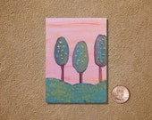 Forest Trees on Pink ACEO Original Watercolor Painting