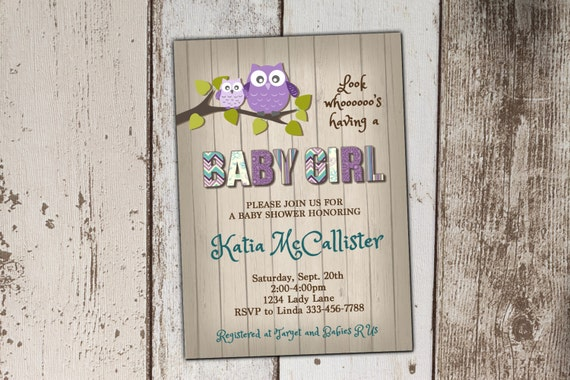 owl baby shower invitation purple and teal baby shower invitation