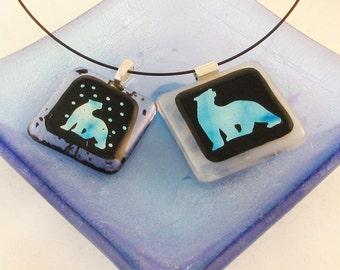 Polar Bear dichroic pendant - polar bear necklace - polar bear jewelry - ooak  (3094-3938)