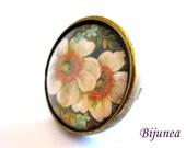 Flower ring - Spring Flowers ring - Adjustable flower ring - Red flower ring - Nature flower ring r759