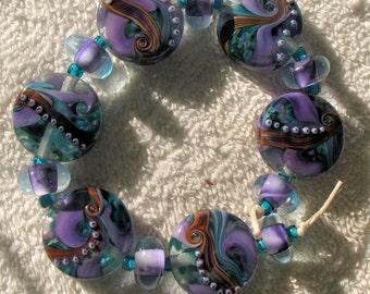Reduced Destash Lot of 27 Donna Millard Lampwork Beads  Over the Moon