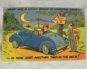 Vintage Tichnor Bros Linen Postcard - Running out of Gas - Postmarked 1946