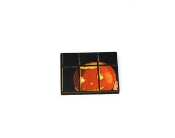 Halloween Brooch, Jack O Lantern, Pumpkin Brooch, Thanksgiving, Halloween Badge