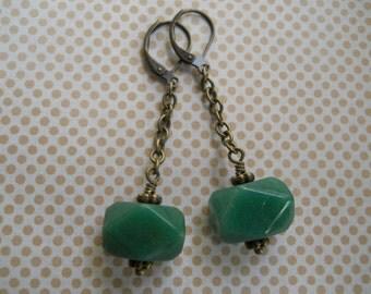 Aventurine Dangle Earrings Long Gemstone Jewelry Brass Chain and Chunky Gem Green Stone Earrings Organic Jewelry