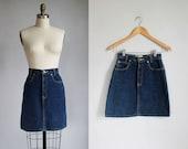 Reserved for Rosie DeLuca 1980s Calvin Klein classic dark blue high waisted denim mini skirt / xs - 25w