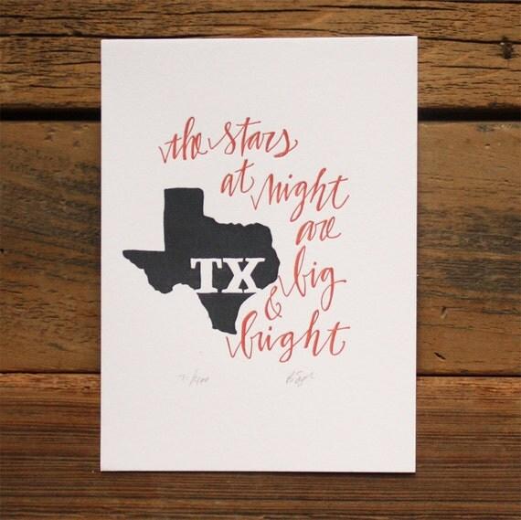 Texas Letterpress State Print