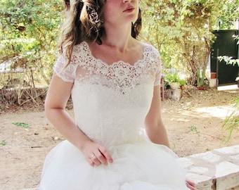 Available Again CUP sleeve vertion CAMILLA bridal lace top white lace top white lace blouse bridal bolero jacket wedding bolero