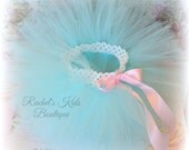 Aqua Tutu With Pink Satin Ribbon, Baby Shower Gift Idea, Spring Photography Prop For Newborn Infant, Size Preemie 3 6 9 12 18 24 Months