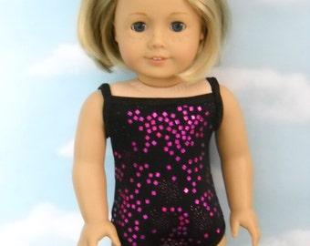 American Girl 18 inch Doll Bathing Suit  Handmade Black with Fushia Confetti
