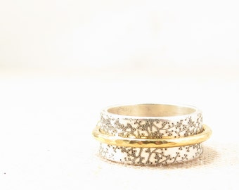 Gift for Women - Spinner Ring  -  Mixed Metal Jewelry - Silver Engraved Ring
