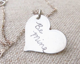Personalized Necklace - Handwriting Heart Necklace - Memorial Jewelry -  ACTUAL Handwriting- Personalized Jewelry - Handwritten Jewelry