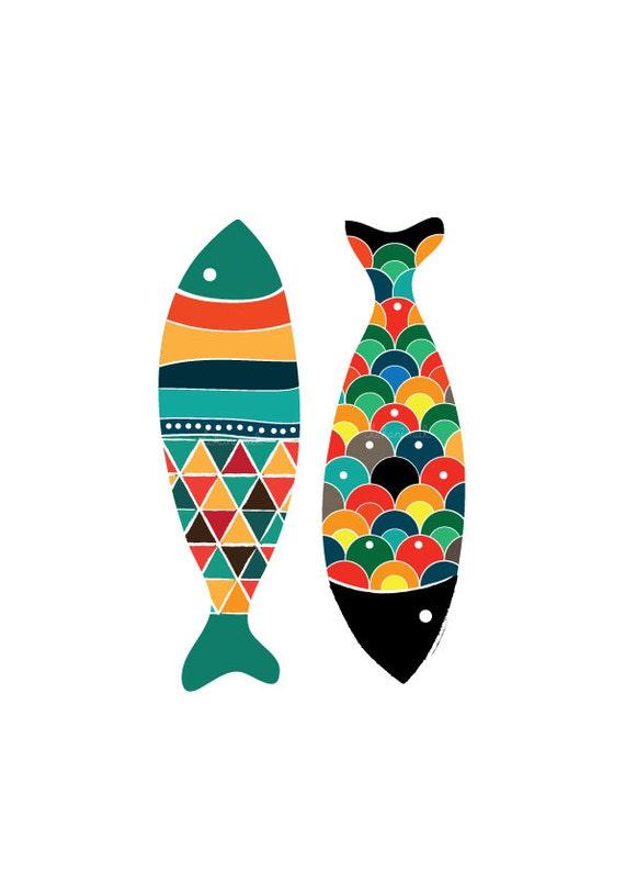 Fish Pattern Drawing Fish Art Print Pop Art
