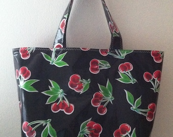 Beth's Big Black with Red Cherries Oilcloth Market Tote Bag