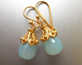 Aqua Drop Earrings, Aqua Chalcedony Earrings, Just a Drop Earrings, Drop Earrings, gold vermeil earrings