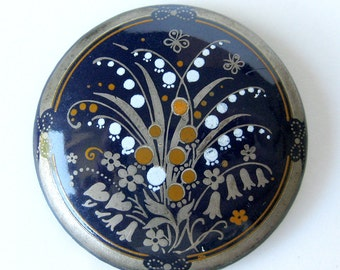 SALE / Enamel Brooch Michaela Frey Art Deco Austrian Floral Brooch / Blue and Gray Brooch / Gift for Her / Gift for Wife / Wildflowers