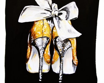 If The Shoe Fits Cinderella Inspired Fairy Tale Gouache Illustration Print