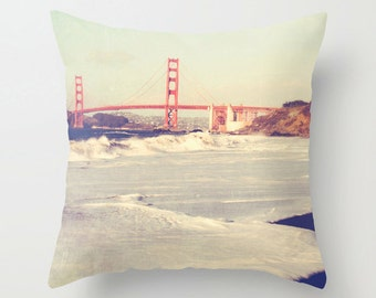 San Francisco throw pillow, decorative pillow case Golden Gate bridge pillow cover California home decor red beach waves bedding 16x16 20x20