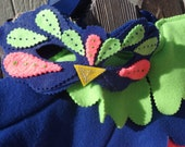 Royal Blue, Electric Pink and Neon Green Bird Play Costume Bird Wings with matching Mask - Kid's Costume Fleece Parrot Wings and Mask