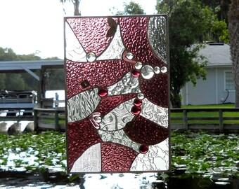 Stained Glass Panel, Geometric style Window Valance, Cranberry glass Suncatcher, Stained Glass Window Transom, Original Handmade Home Decor