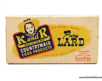 1930's Pure Lard Box, Vintage Kitchen Decor