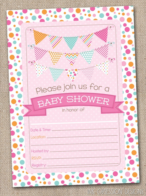 fill in baby shower invitations polka dotty pink blue orange polka