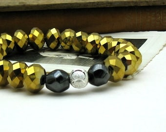 Black Silver and Gold Crystal Minimalist  Glam  Beaded  Bracelet   For Her Under 50, One of a Kind Free Gift Wrap