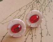 faux ruby and pink vintage flower button pierced earrings